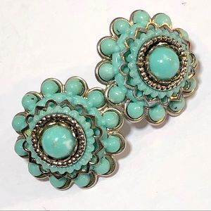 Vintage sweet faux Silver/Turquoise earrings